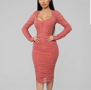 Don't Get Sassy Mesh Midi Dress - Marsala